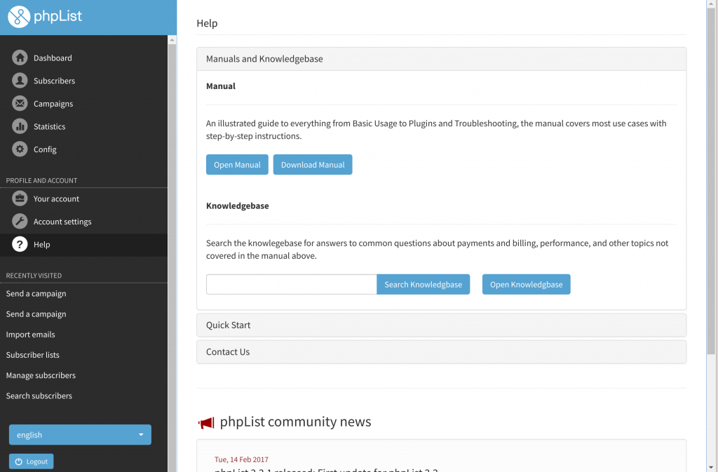 phpList new interface help section screenshot