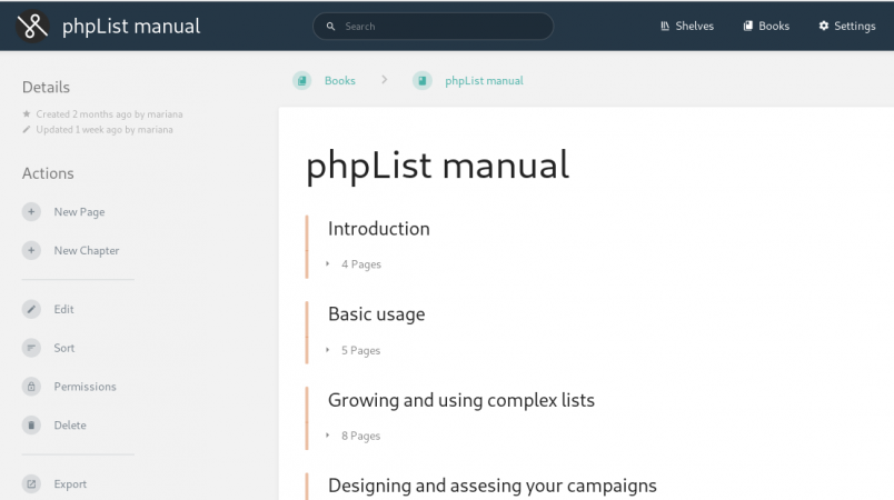 Screenshot of the new phpList manual running on BookStack