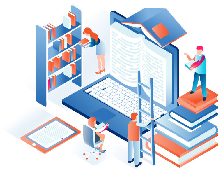 Illustration of people reading books on a laptop